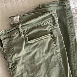 Free People green busted knee jeans